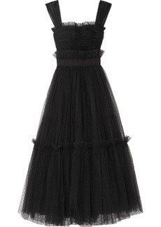 Dolce & Gabbana Appliquéd Ruffled Tulle Gown