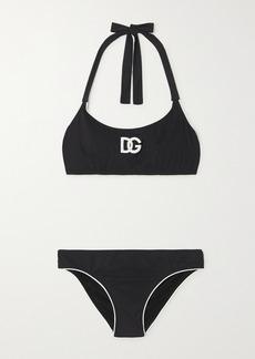 Dolce & Gabbana Appliquéd Two-tone Halterneck Bikini