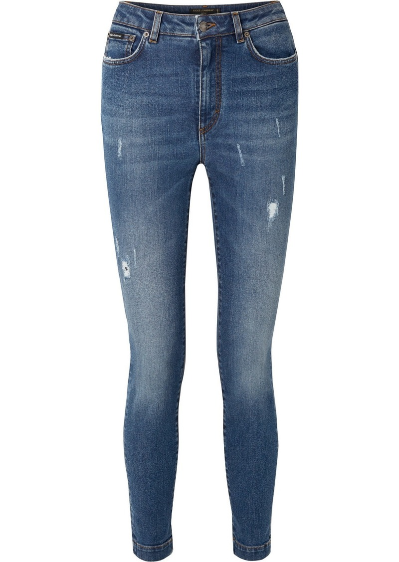 Dolce & Gabbana Audrey Distressed High-rise Skinny Jeans