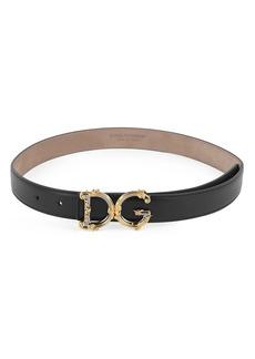 Dolce & Gabbana Baroque Logo Leather Belt