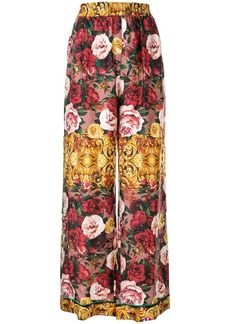Dolce & Gabbana baroque rose print palazzo trousers