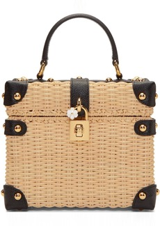 Dolce & Gabbana Beige & Black Raffia Box Top Handle Bag