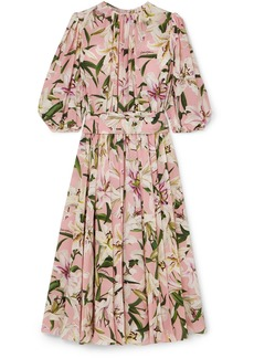 Dolce & Gabbana Belted Floral-print Silk-georgette Midi Dress