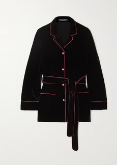 Dolce & Gabbana Belted Piped Satin-trimmed Velvet Shirt