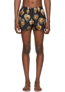 Dolce & Gabbana Black & Gold Sacred Heart Swim Shorts