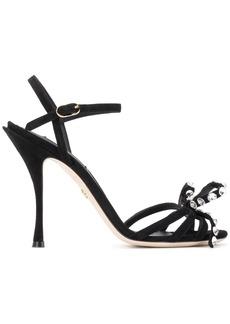 Dolce & Gabbana black 105 crystal embellished suede sandals