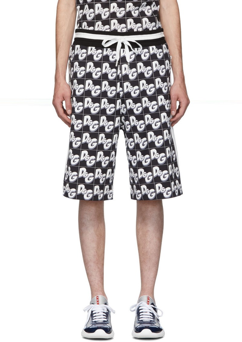 Dolce & Gabbana Black All-Over Logo Shorts