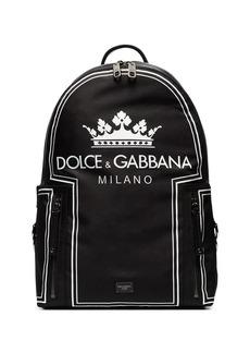 Dolce & Gabbana black and white crown logo print backpack