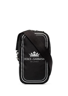 Dolce & Gabbana black and white crown logo print cross-body bag