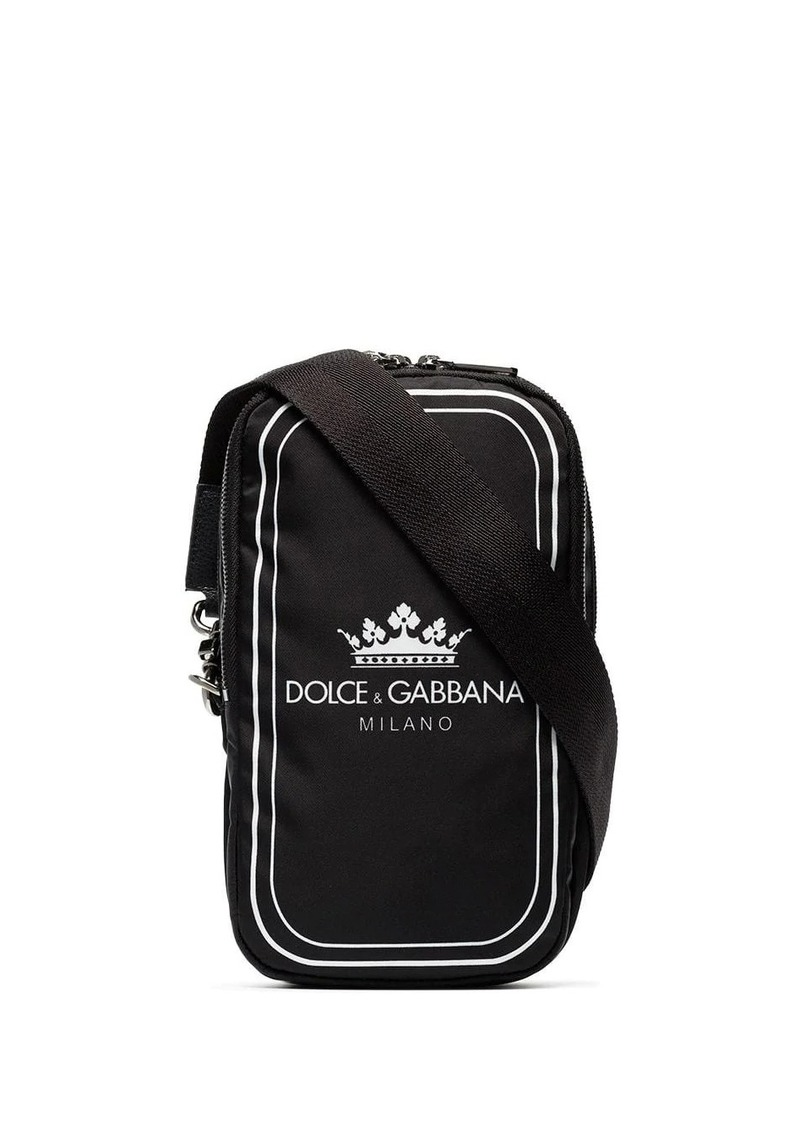 Dolce & Gabbana black and white crown logo print cross-body bag