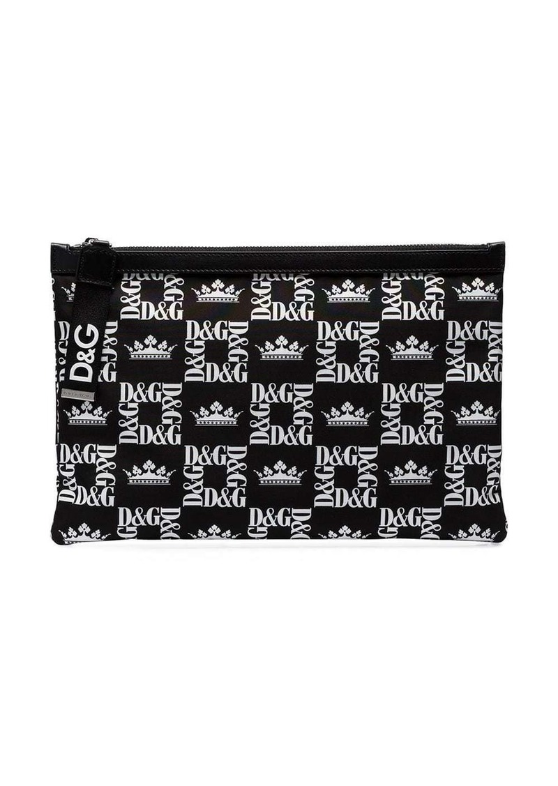 Dolce & Gabbana black crown print canvas pouch bag