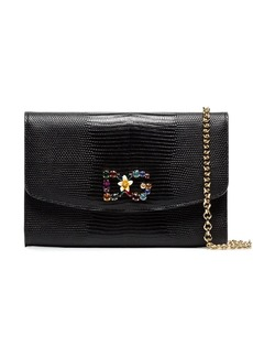 Dolce & Gabbana black crystal embellished leather wallet bag