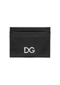 Dolce & Gabbana Black Diamante Logo Leather Card Holder