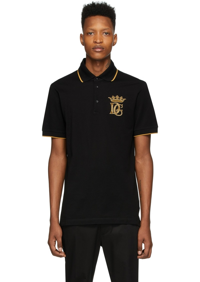 Dolce & Gabbana Black Embroidered Logo Polo