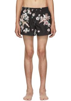 Dolce & Gabbana Black Floral Swim Shorts