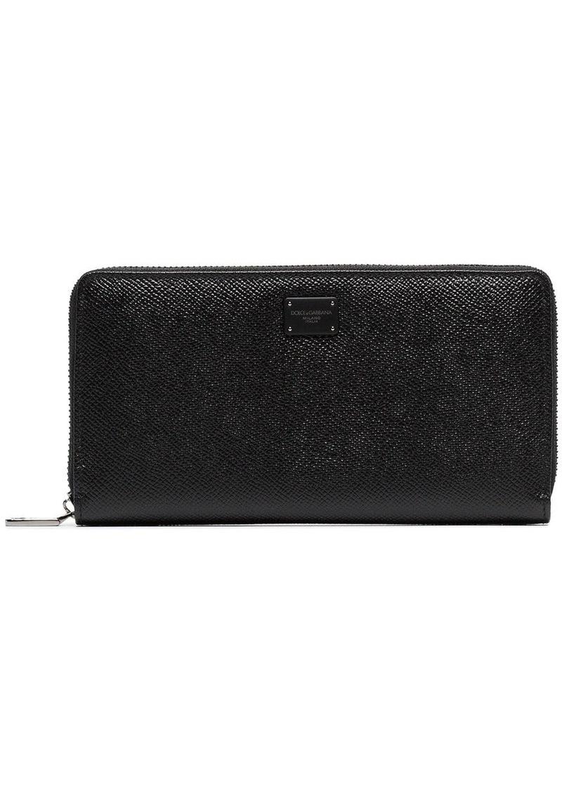 Dolce & Gabbana black logo plaque grained leather wallet