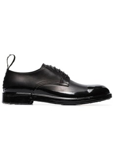 Dolce & Gabbana black logo tab leather derby shoes