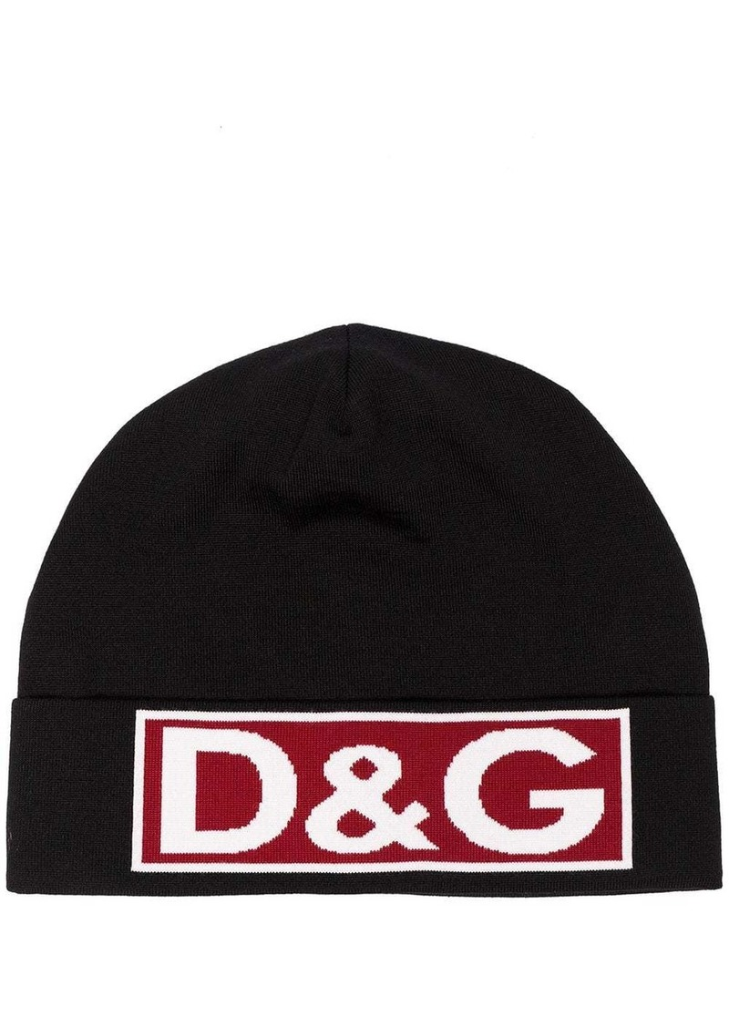Dolce & Gabbana black, red and white logo wool hat