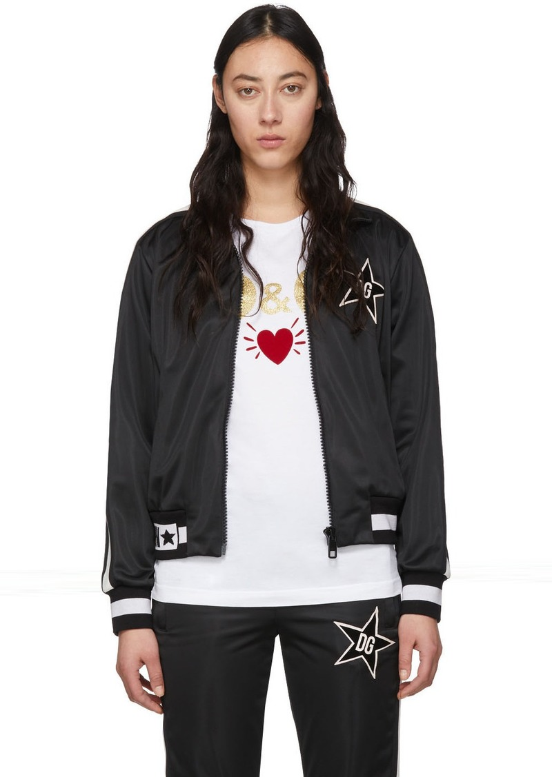 Dolce & Gabbana Black Side Star Zip Up Jacket