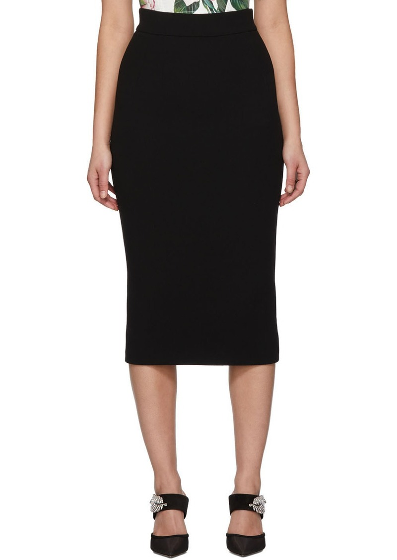 Dolce & Gabbana Black Wool Straight Mid Skirt