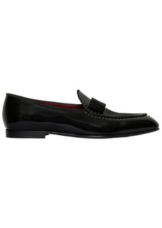 Dolce & Gabbana Bow Micro Studded Patent Leather Loafers