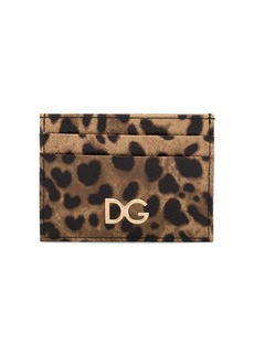 Dolce & Gabbana brown leopard print leather cardholder