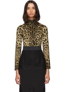 Dolce & Gabbana Brown Silk Leopard Print Turtleneck