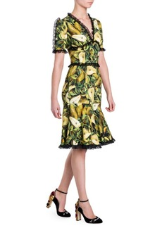 Dolce & Gabbana Cady Lace Trim Pear Print Dress