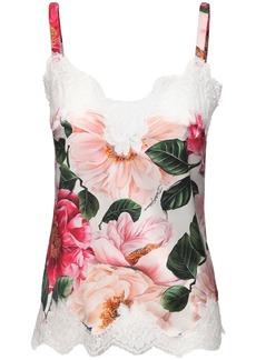 Dolce & Gabbana Camelia Print Silk Blend Camisole Top