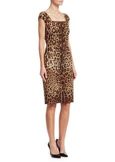 Dolce & Gabbana Cap Sleeve Leopard Print Sheath Dress