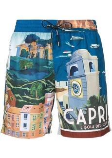 Dolce & Gabbana Capri print drawstring swim-shorts