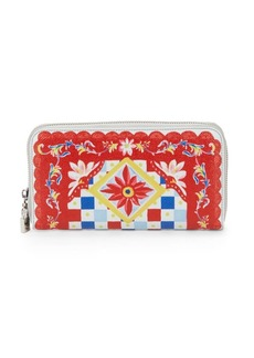 Dolce & Gabbana Carretto Leather Zip-Around Wallet