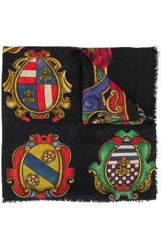 Dolce & Gabbana cashmere emblem print scarf