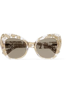 Dolce & Gabbana Cat-eye acetate and metallic lace mirrored sunglasses