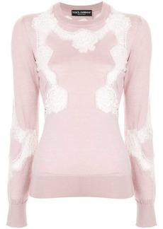 Dolce & Gabbana Chantilly lace crewneck sweater