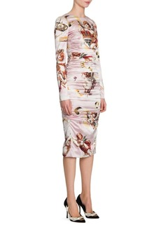 Dolce & Gabbana Cherub Print Satin Bodycon Dress