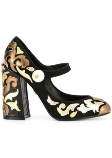Dolce & Gabbana chunky-heel multi-patch pumps
