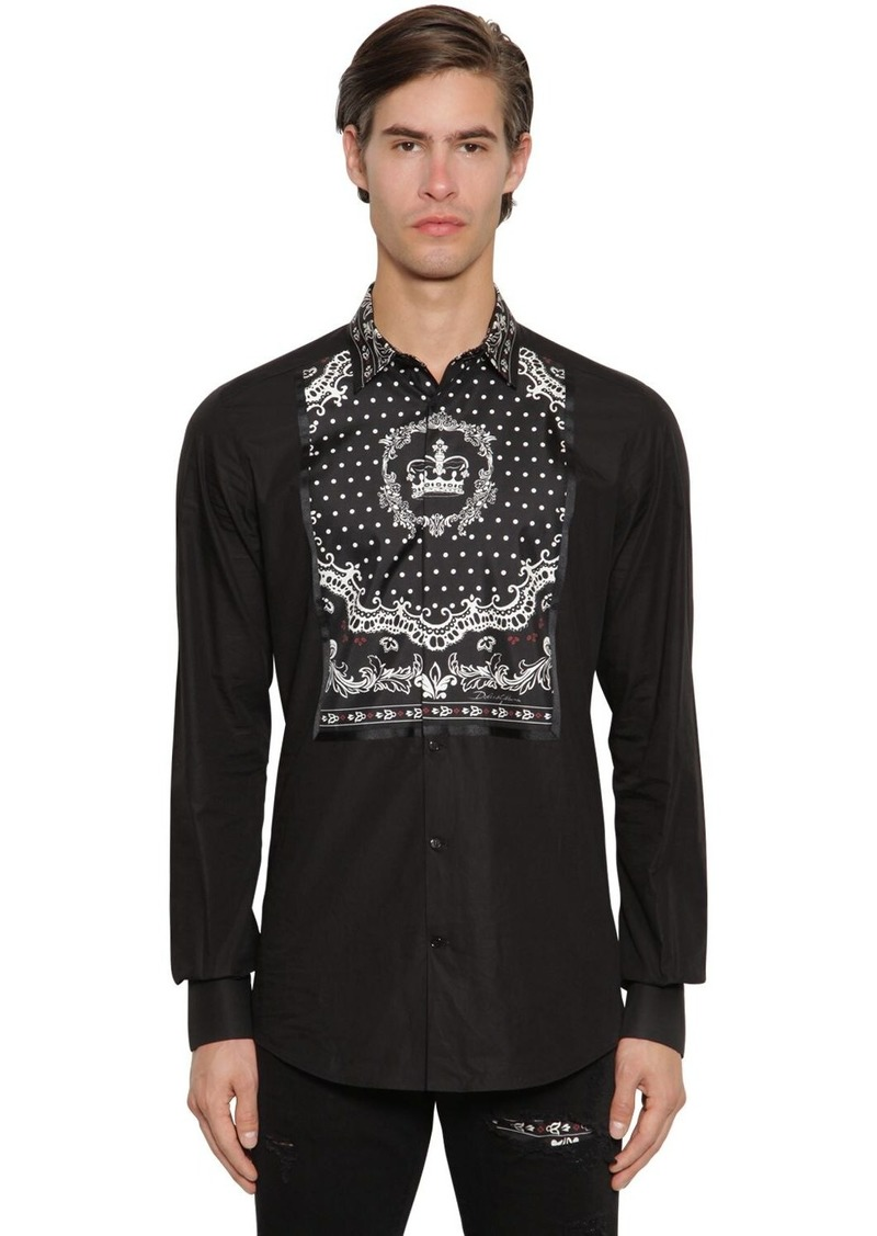 Dolce & Gabbana Cotton & Silk Gold Shirt W/crown