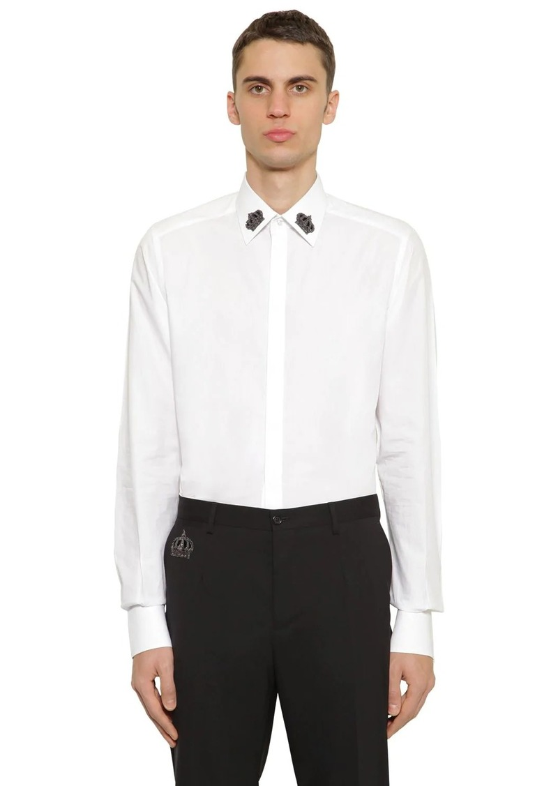 Dolce & Gabbana Cotton Poplin Shirt W/ Embroidery