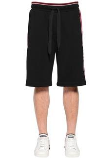 Dolce & Gabbana Cotton Sweat Shorts W/ Satin Side Bands