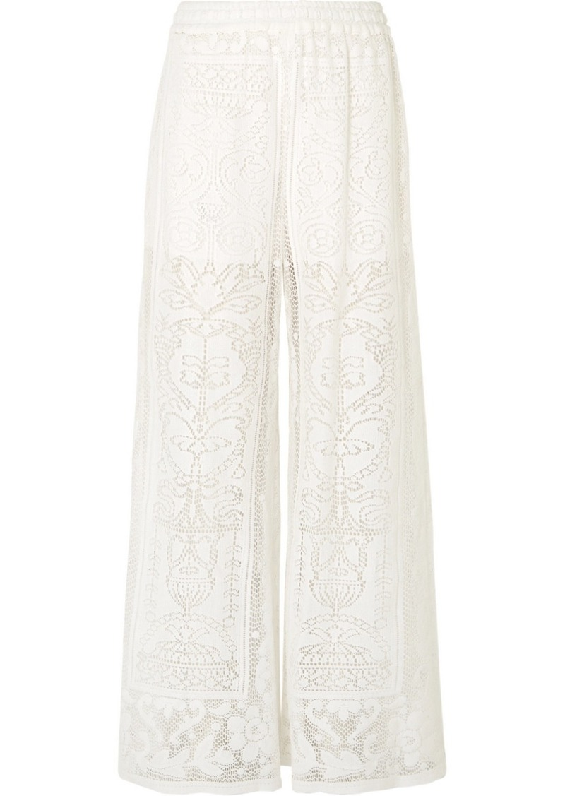 Dolce & Gabbana Crocheted Cotton-blend Lace Wide-leg Pants