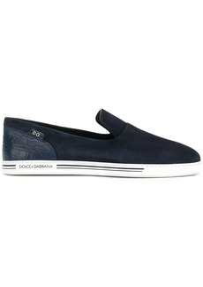 Dolce & Gabbana crocodile-embossed panel slip-on sneakers