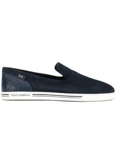 Dolce & Gabbana crocodile-embossed panel slip-on sneakers