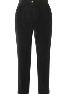 Dolce & Gabbana Cropped Cotton-velvet Tapered Pants