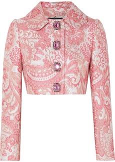 Dolce & Gabbana Cropped Crystal-embellished Metallic Brocade Jacket