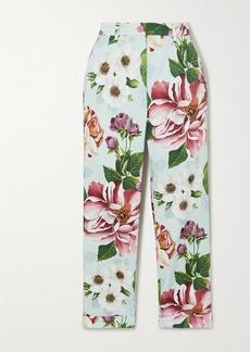 Dolce & Gabbana Cropped Floral-print Cotton-blend Twill Slim-leg Pants