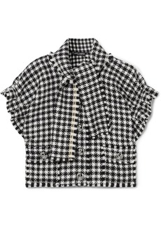 Dolce & Gabbana Cropped Frayed Houndstooth Wool-blend Tweed Top