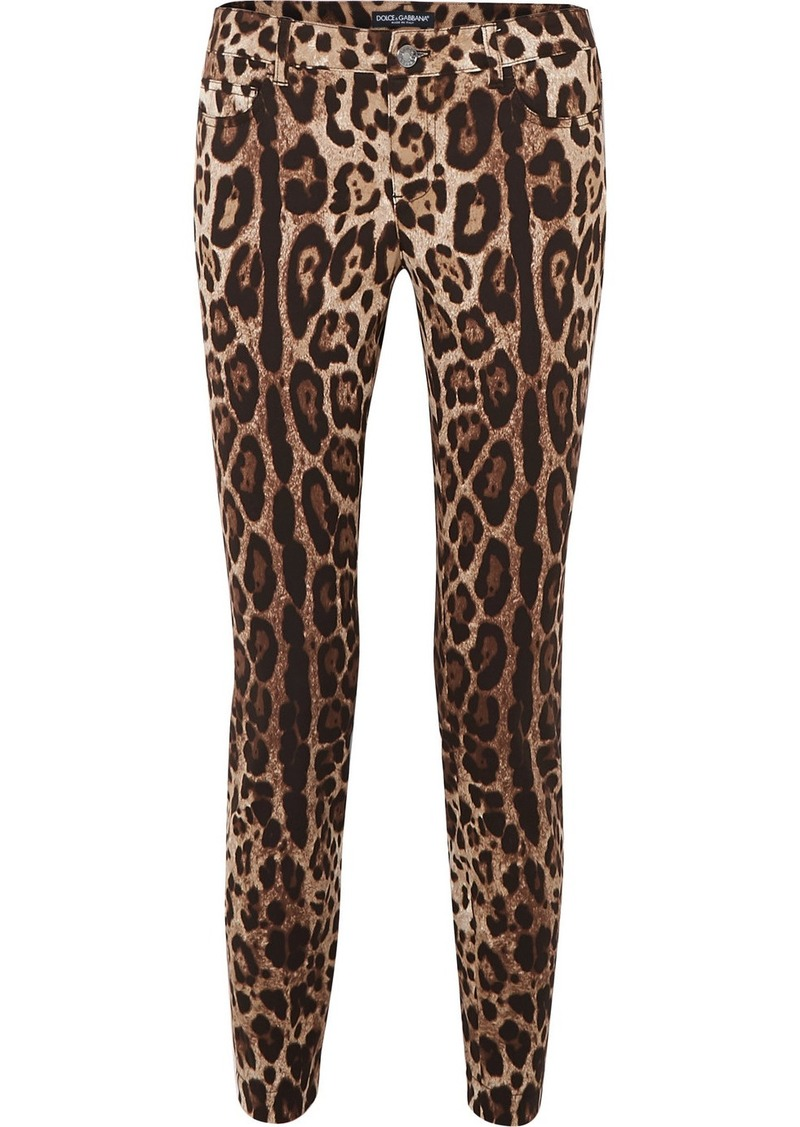 Dolce & Gabbana Cropped Leopard-print Skinny Jeans