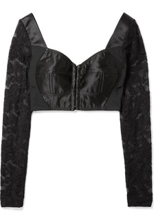 Dolce & Gabbana Cropped Satin, Stretch-knit And Lace Bustier Top