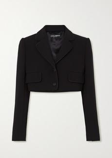 Dolce & Gabbana Cropped Satin-trimmed Stretch Wool And Silk-blend Blazer